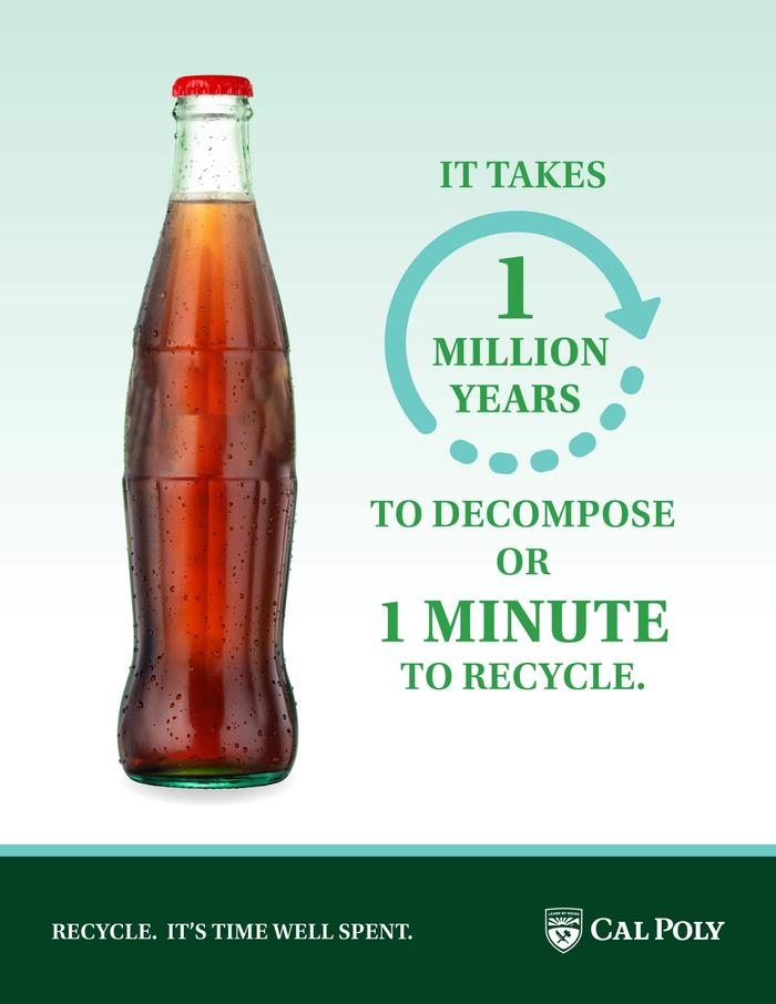 Recycling poster with a glass bottle