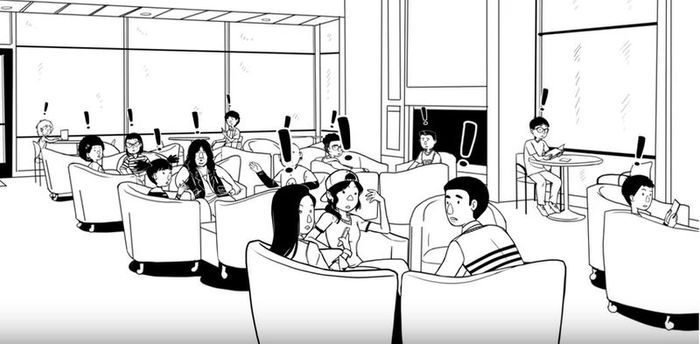 Drawing of Alarmed Students