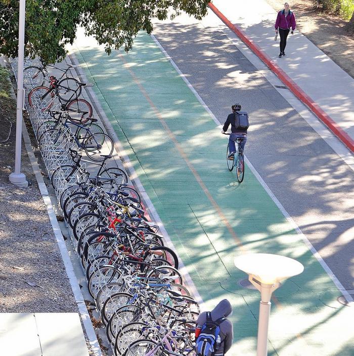 Student Biking on Campus.