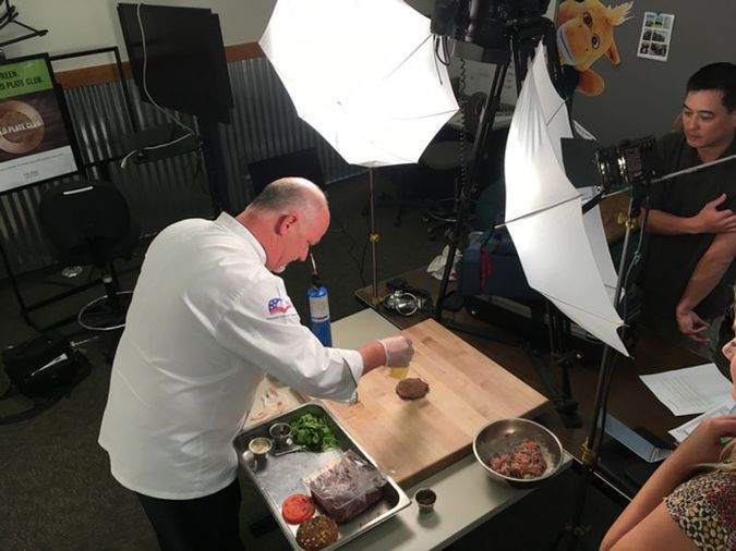 Campus Dining Executive Chef Ken Kline Making Burger
