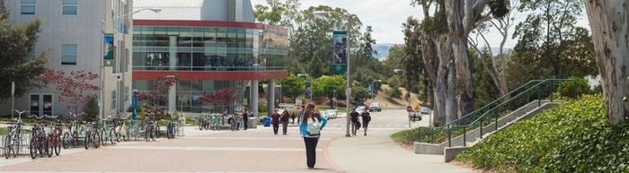 Cal Poly Campus with Students Walking