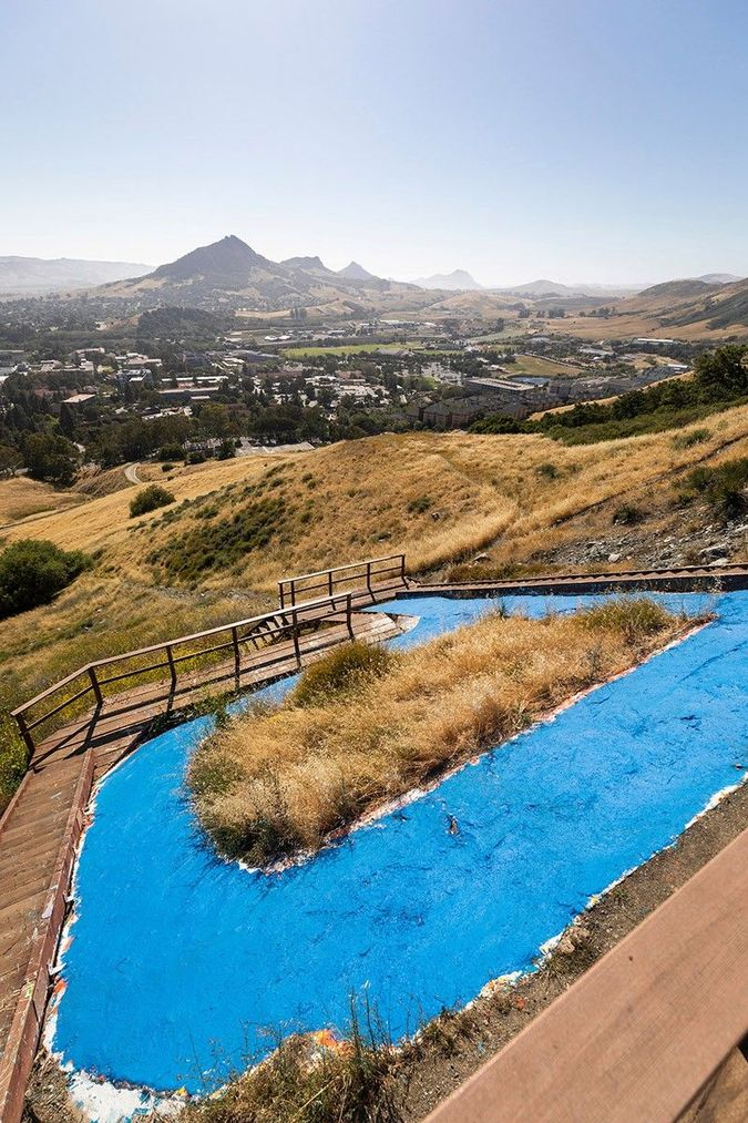 Cal Poly P Painted Blue