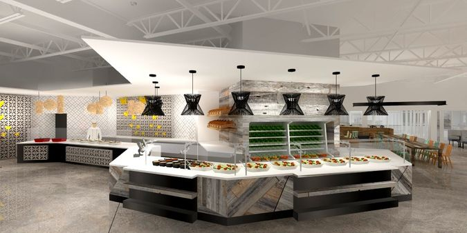 rendering of buffet in building 19