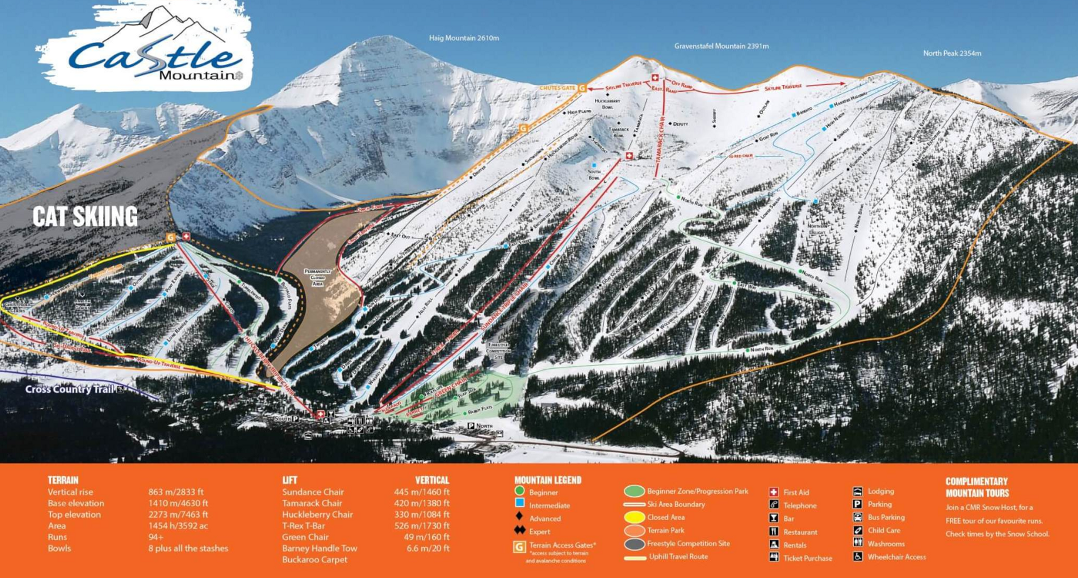 Castle Mountain ski-resort-trail-map Canada ripatrip
