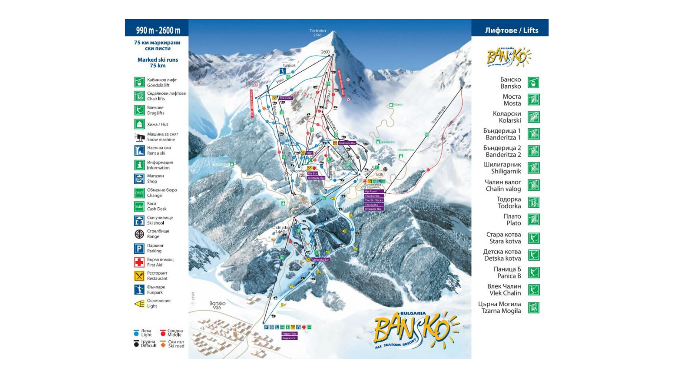 Bansko ski-resort-trail-map Bulgaria ripatrip