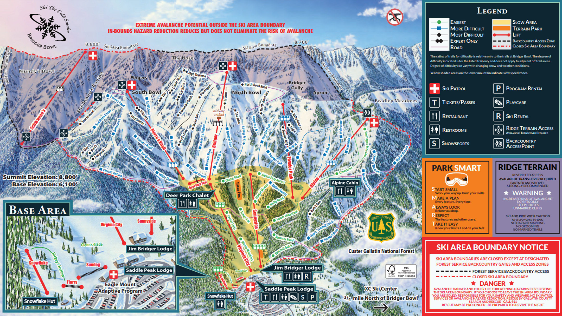 Bridger Bowl ski-resort-trail-map United States ripatrip