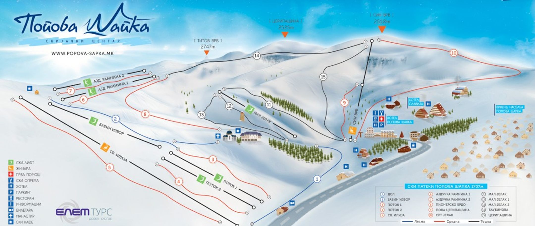 Popova Sapka ski-resort-trail-map Macedonia ripatrip