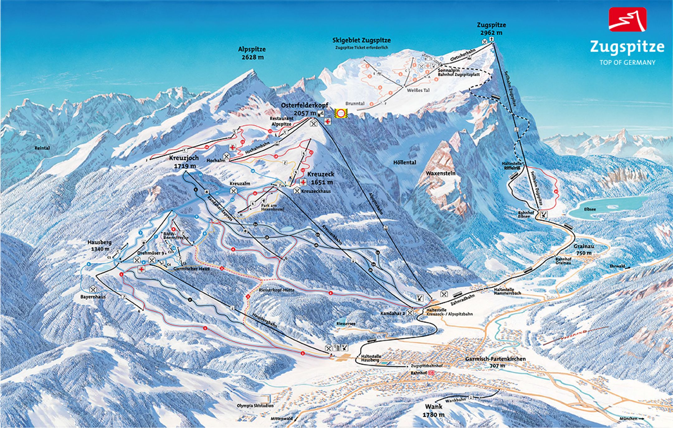 Garmisch ski-resort-trail-map Germany ripatrip