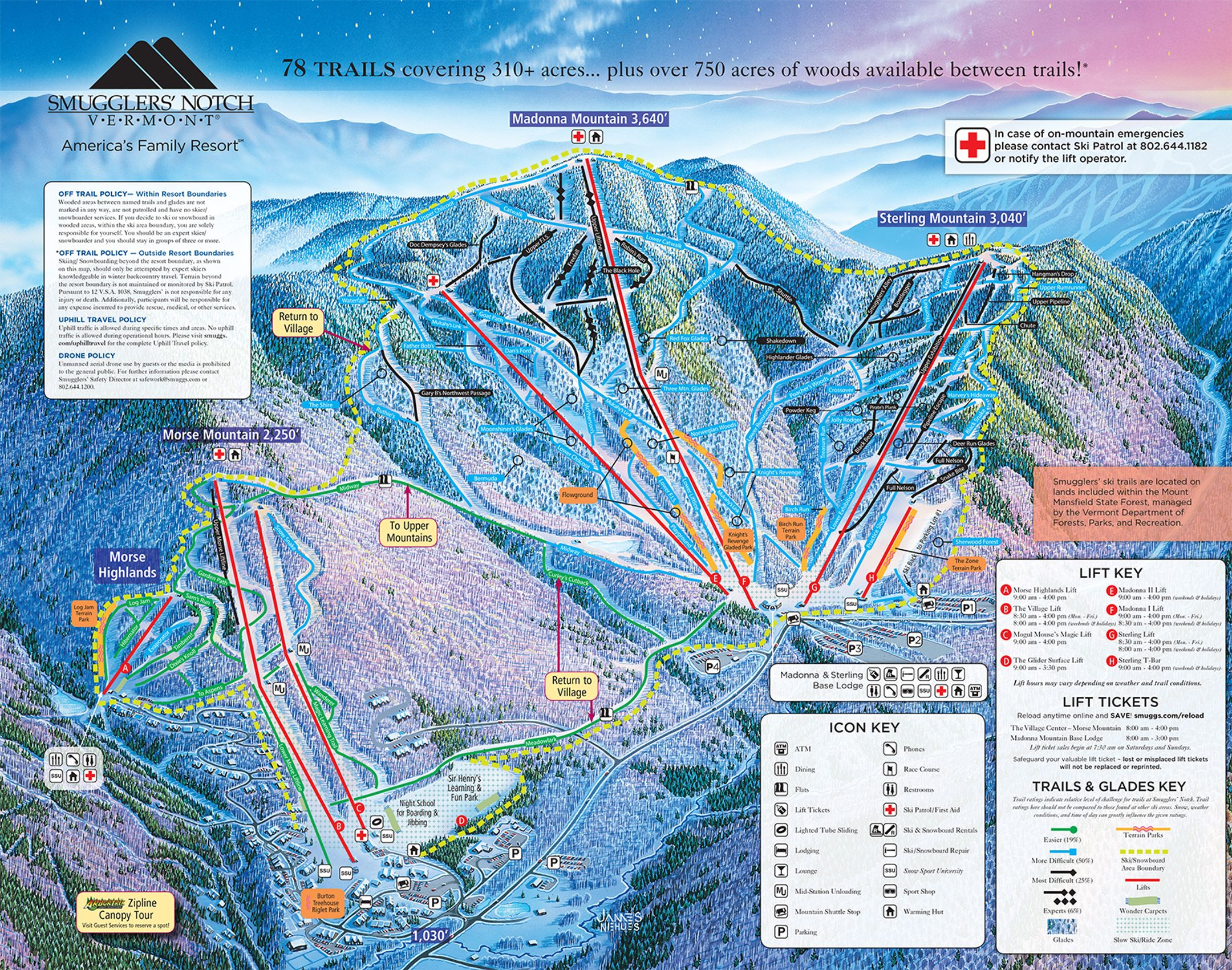Smugglers Notch ski-resort-trail-map United States ripatrip