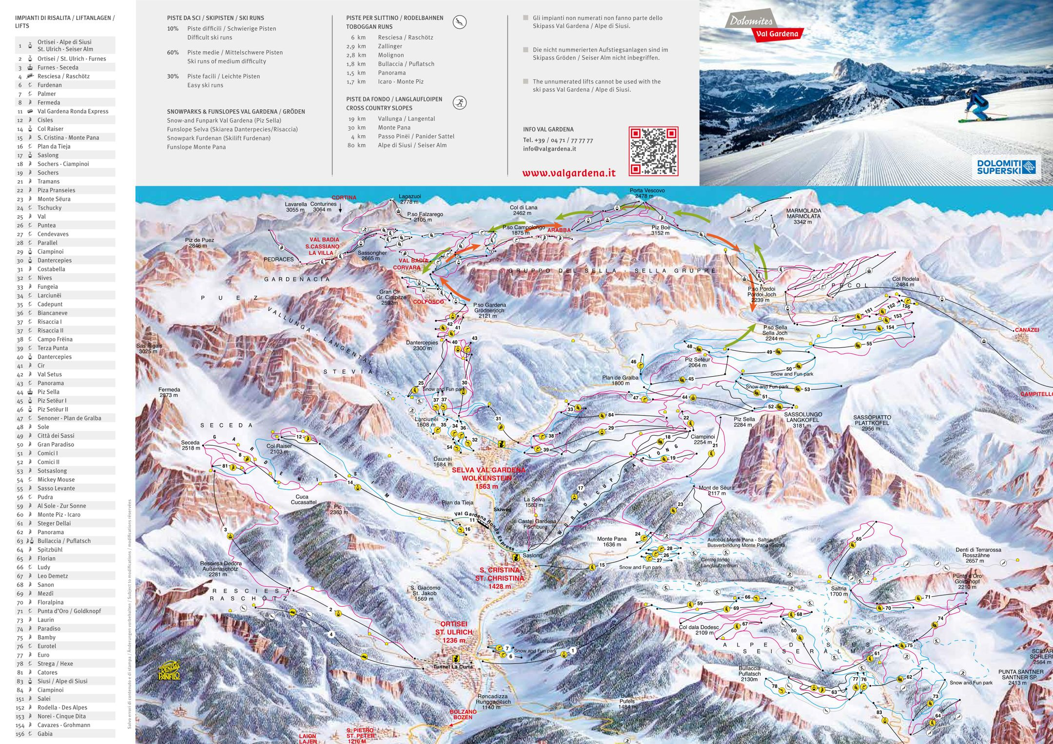 Val Gardena ski-resort-trail-map Italy ripatrip