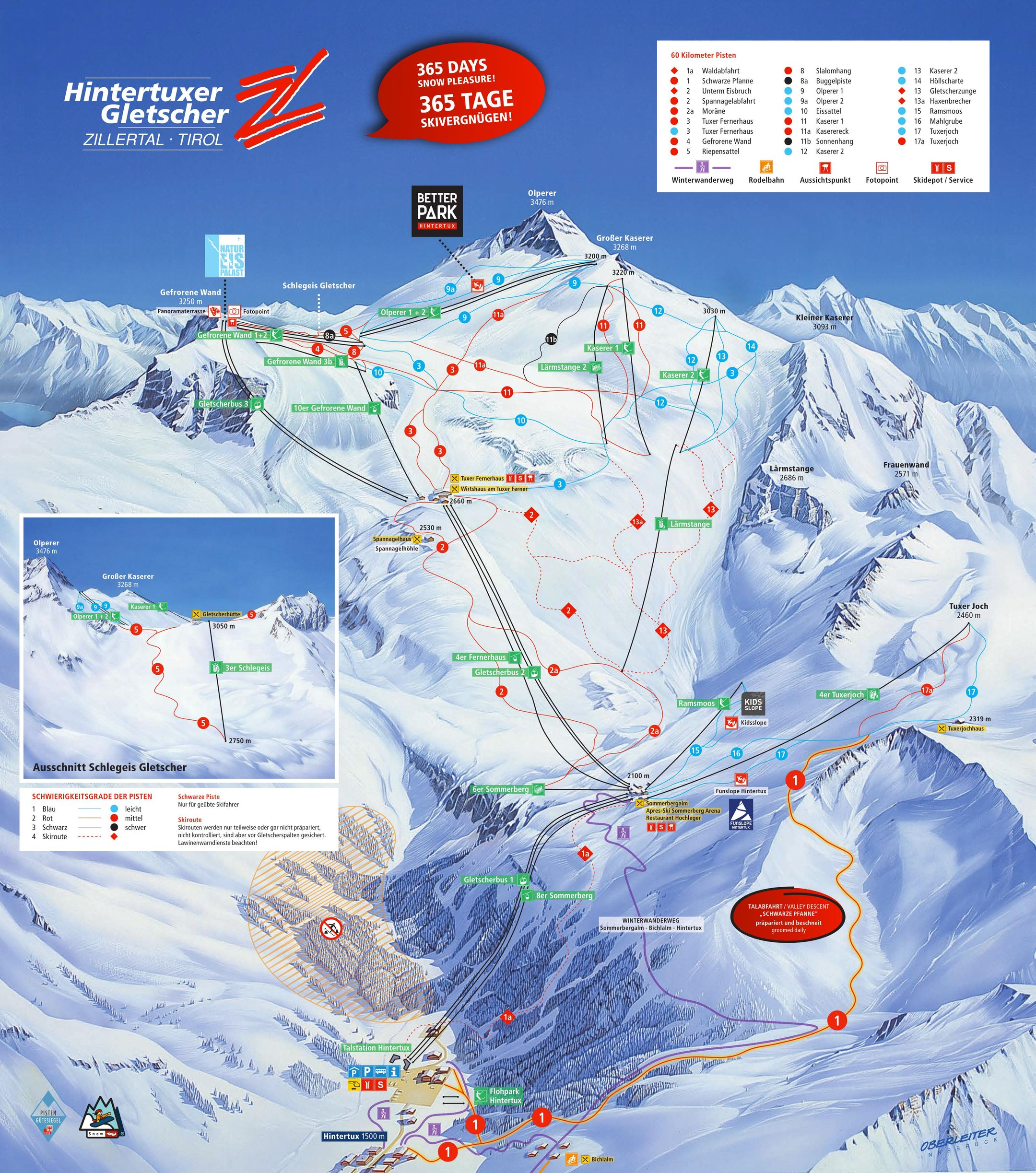 Hintertux Glacier ski-resort-trail-map Austria ripatrip