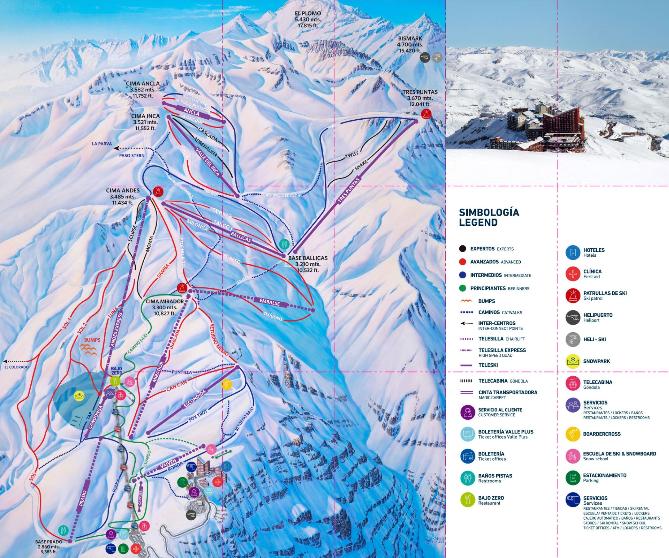Valle Nevado ski-resort-trail-map Chile ripatrip