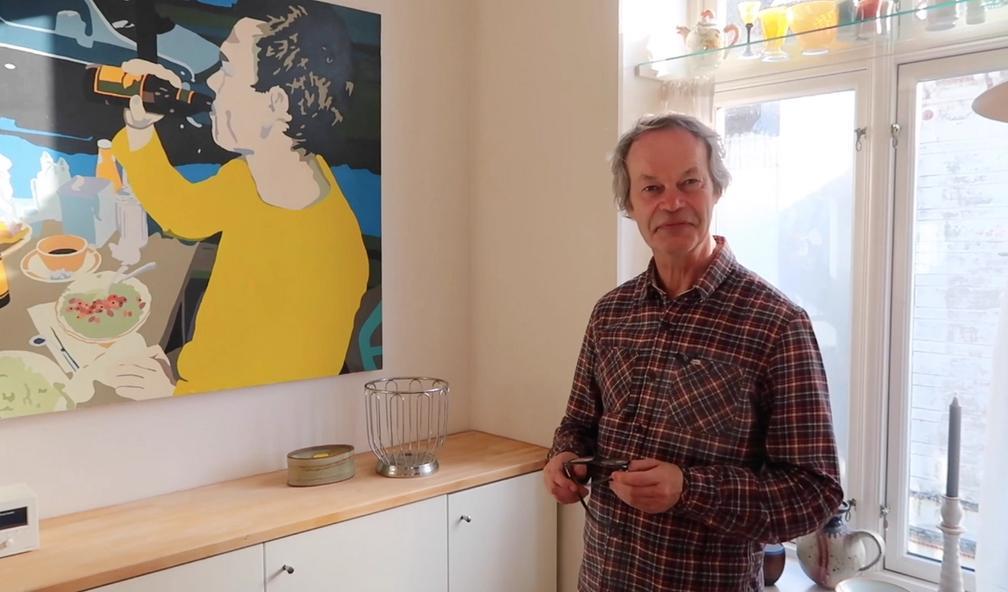 Ronny Michelsen og Svein Johannesen har funnet det perfekte maleri til kjøkkenet
