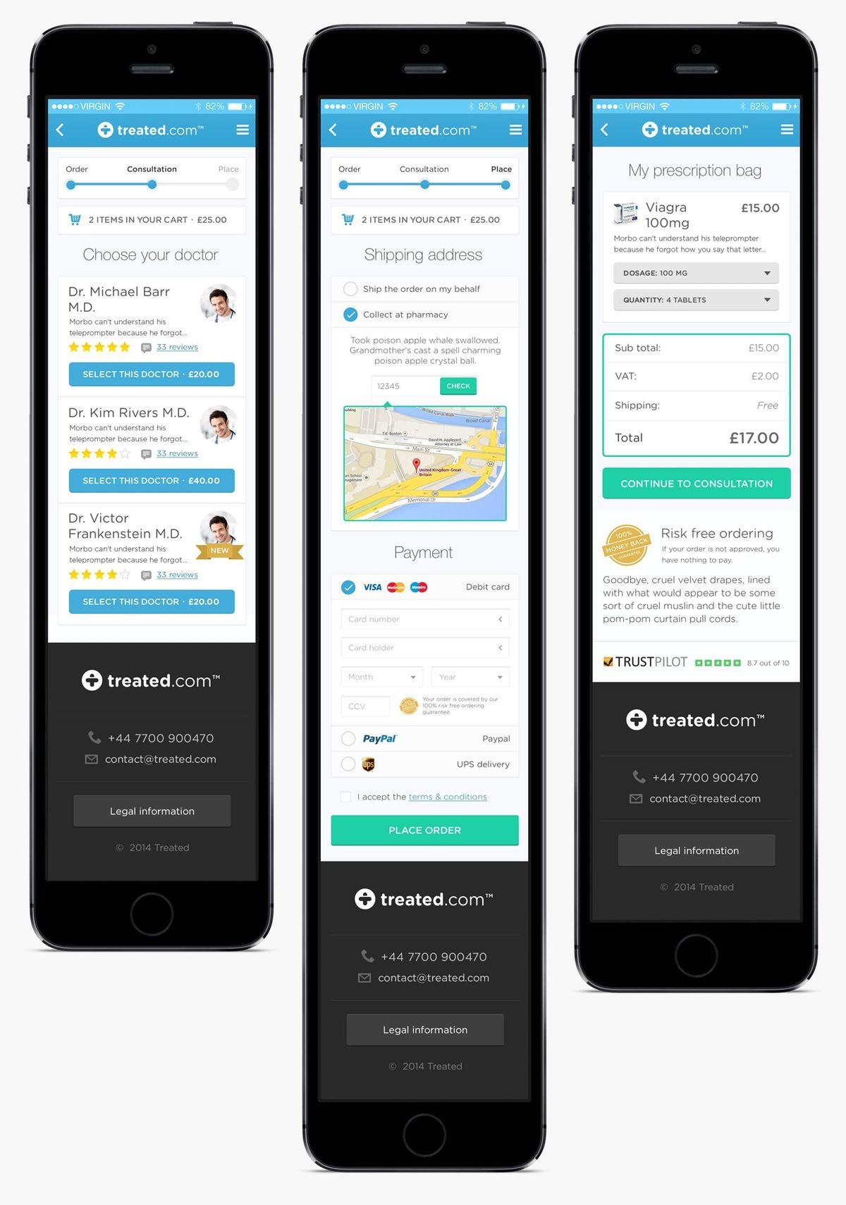 Treated.com mobile screens