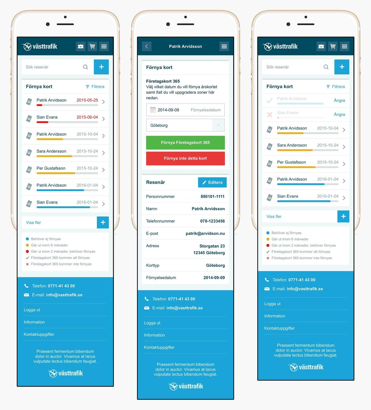 Västtrafik mobile renewal screens
