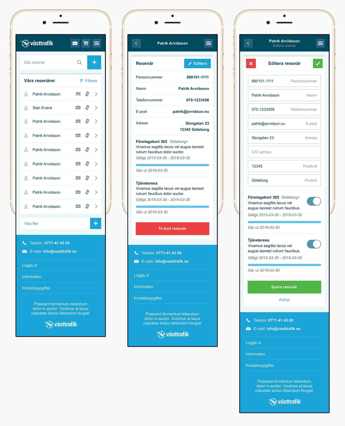 Västtrafik mobile overview screens