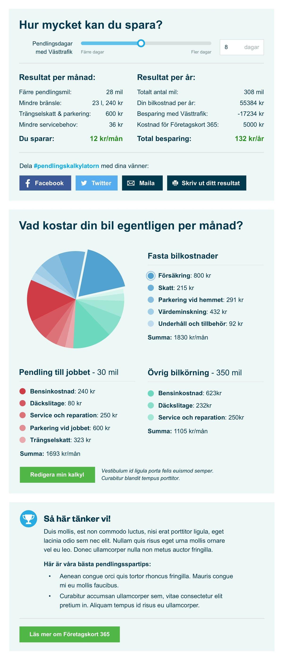 Västtrafik calculator results