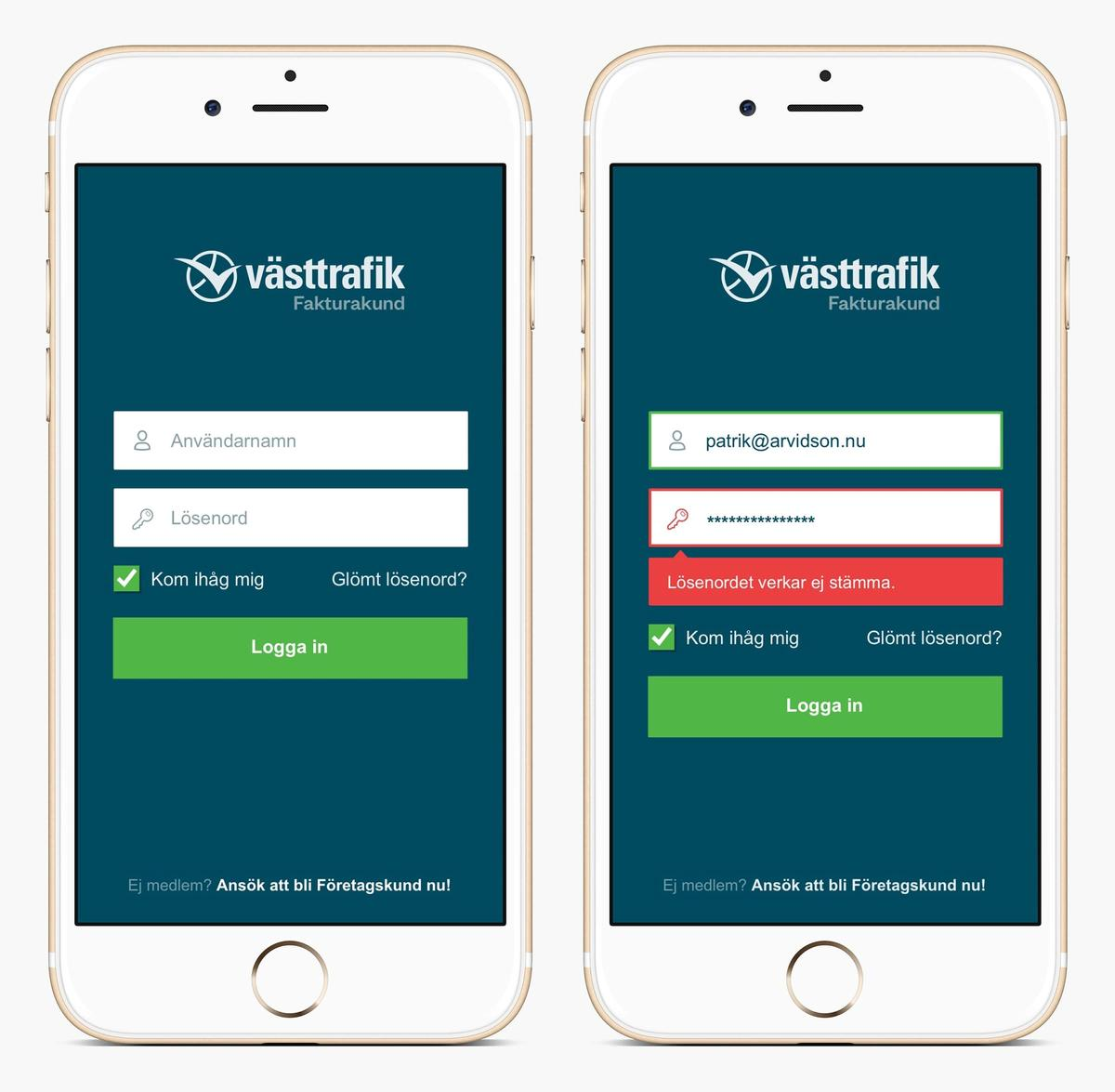 Västtrafik mobile login screens