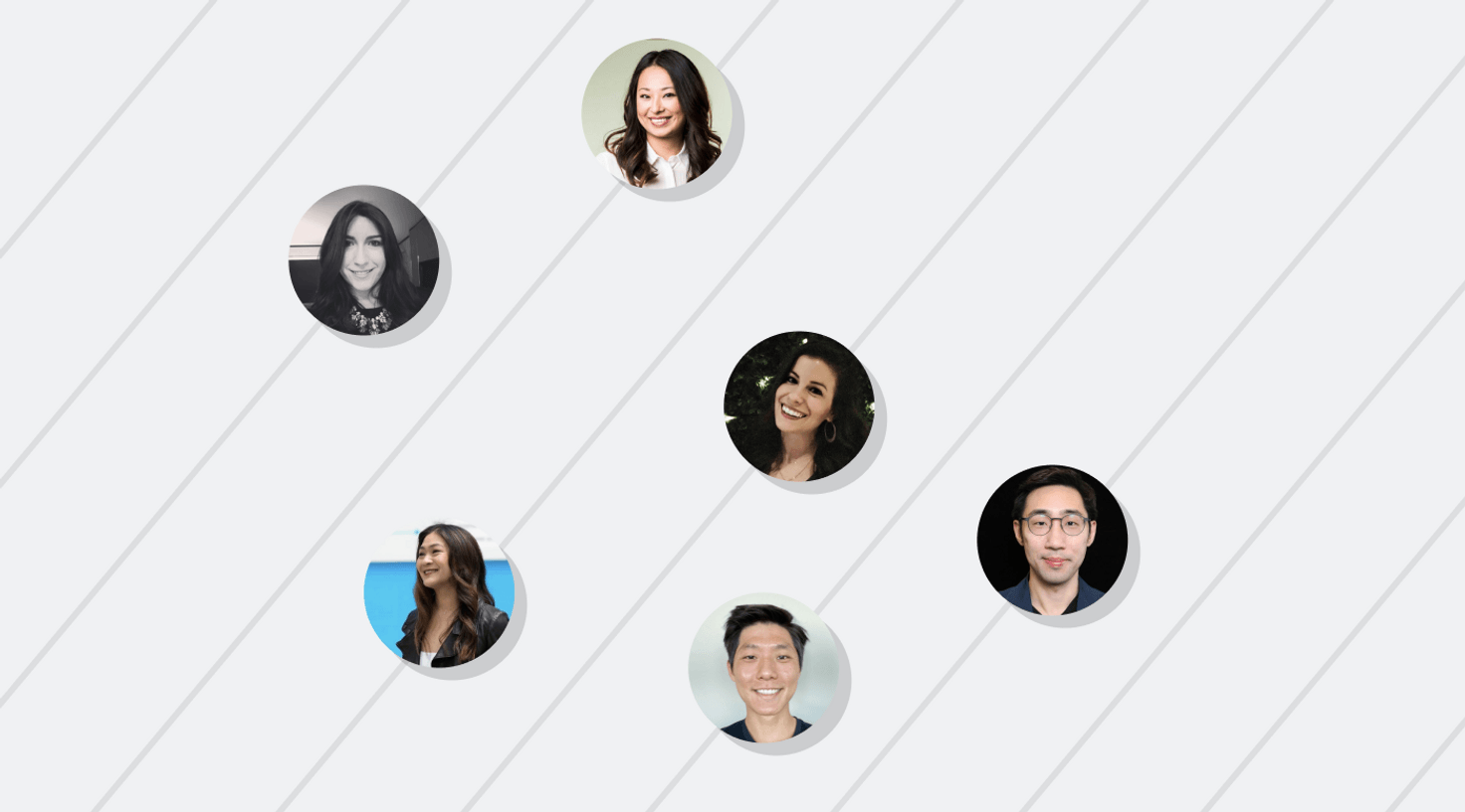 Six small circular portraits of people on a light grey background