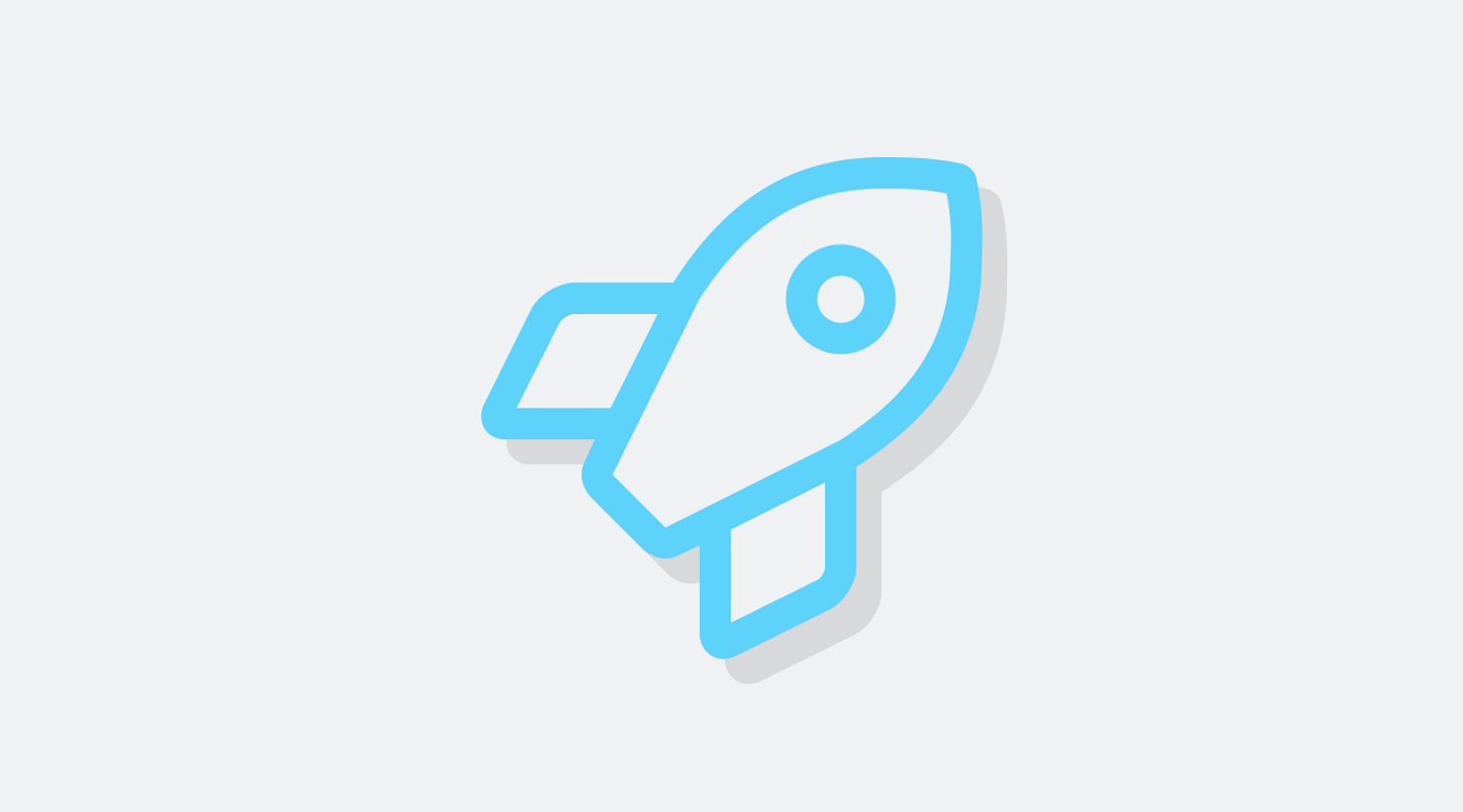 Image of light blue icon of a rocket