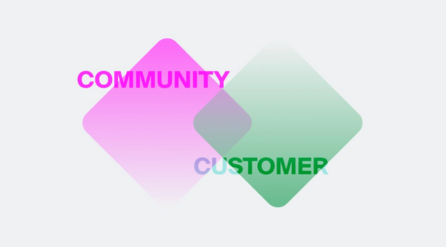 Image of overlapping diamonds representing community and customer success