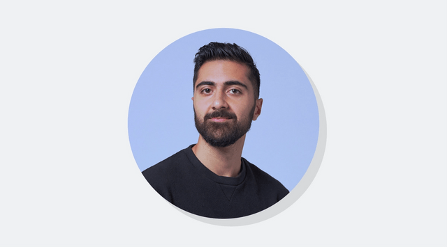 Photograph of Shahed Khan, co-founder at Loom, on a blue background