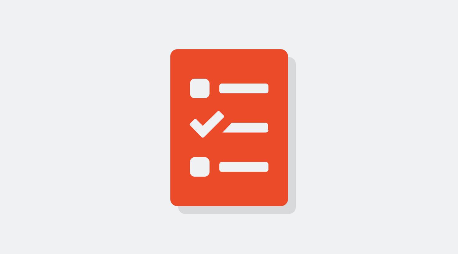 Orange icon of a checklist