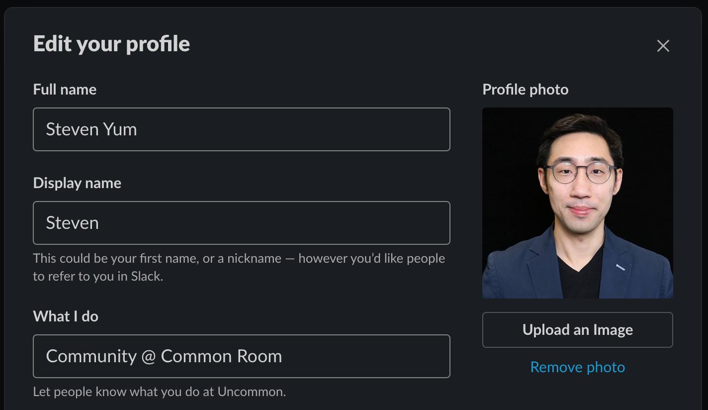 Screenshot showing an example of Slack profile setup screen