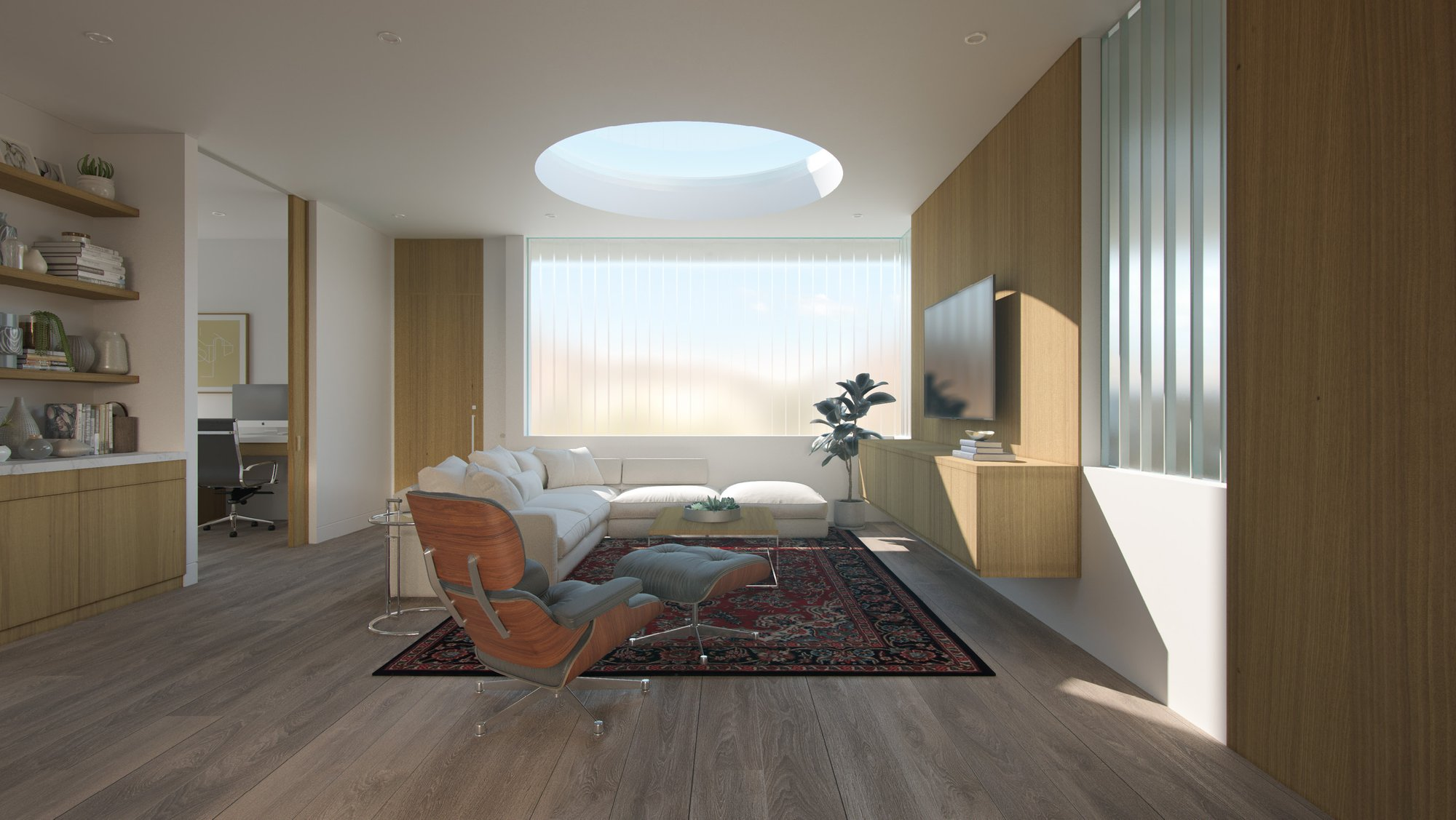 Great room with obscured view to the street and consistent beam of light from the oculus