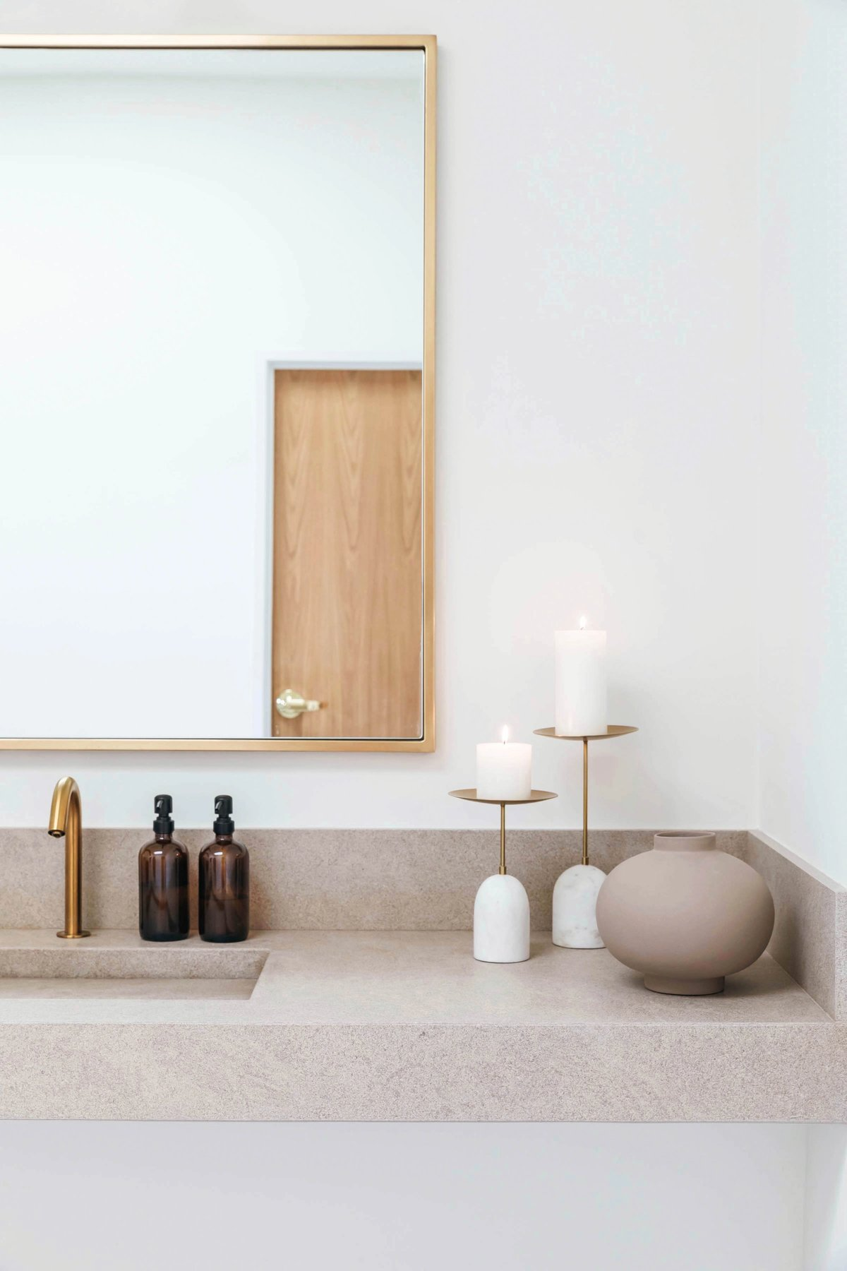 Brass and limestone accents