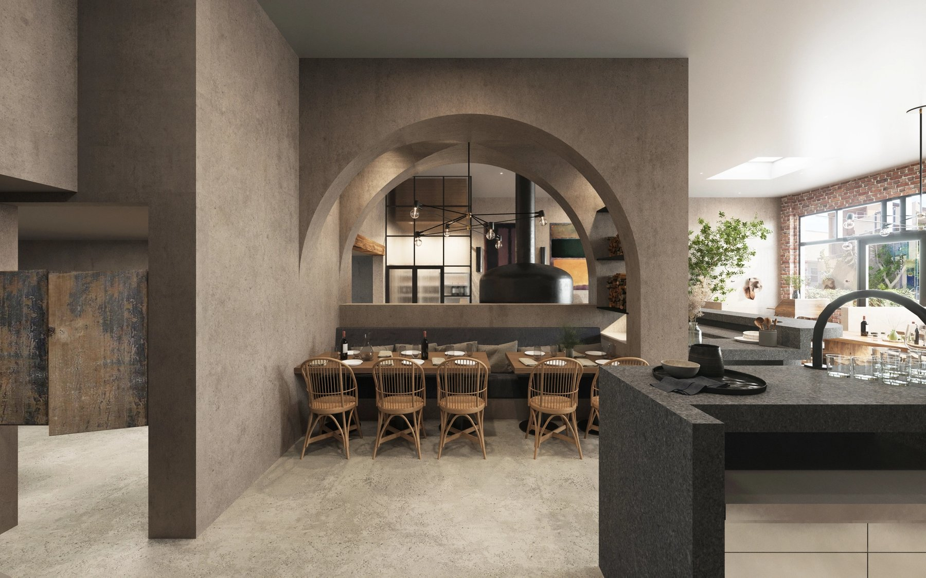 More intimate seating below a plastered archway with the hearth oven and wine room beyond.