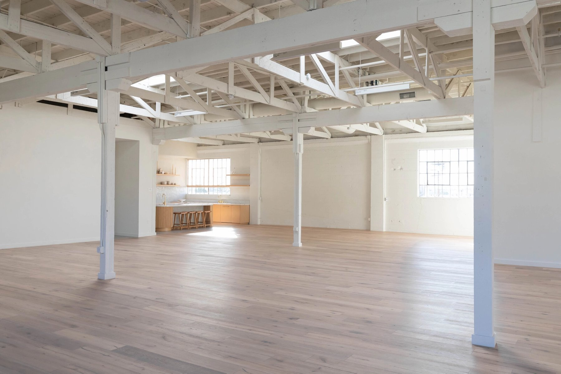 White oak floors and exposed wood structure