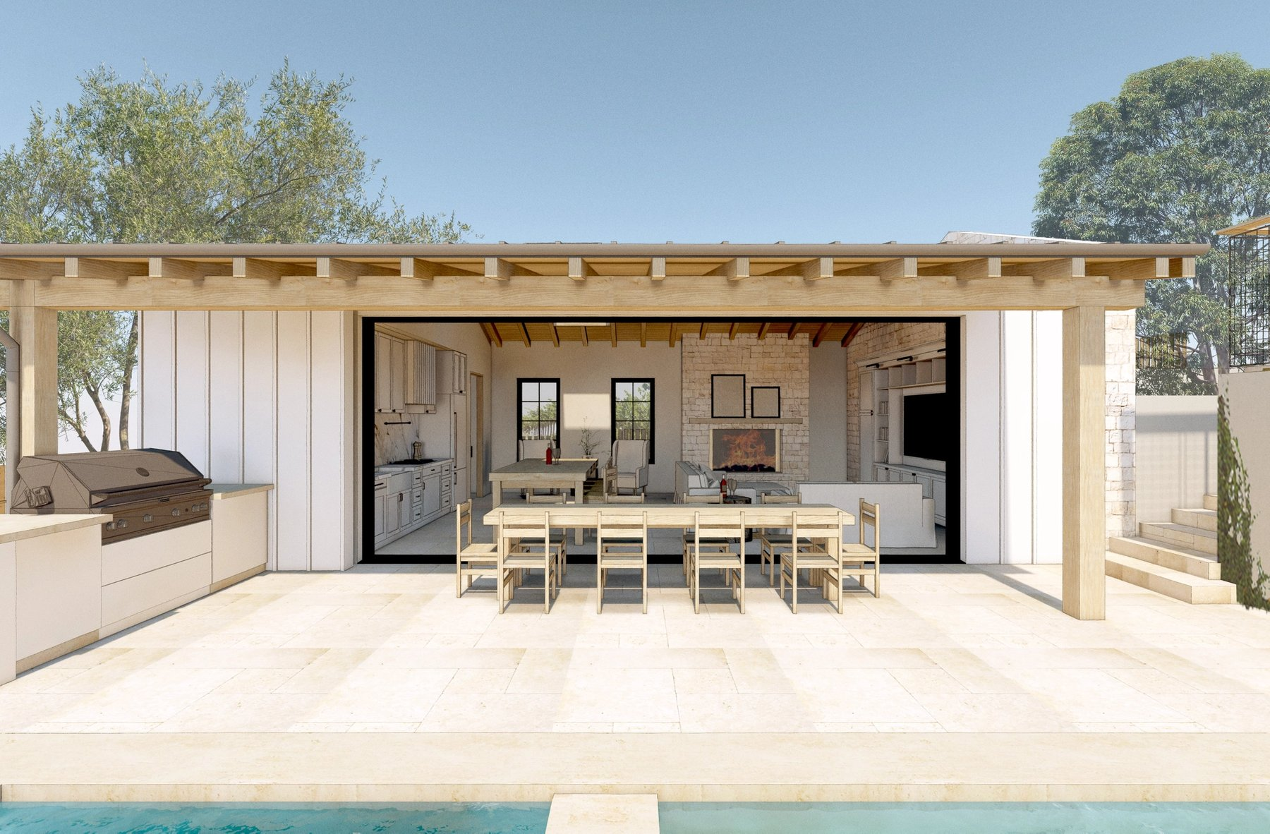Pool House with doors open