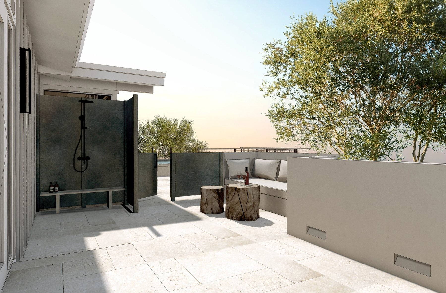 Private master patio with outdoor shower
