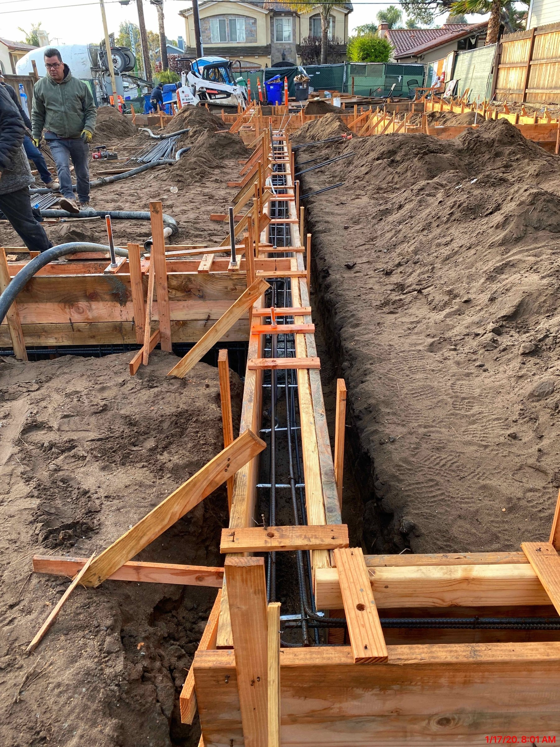 Foundation forms with rebar in place
