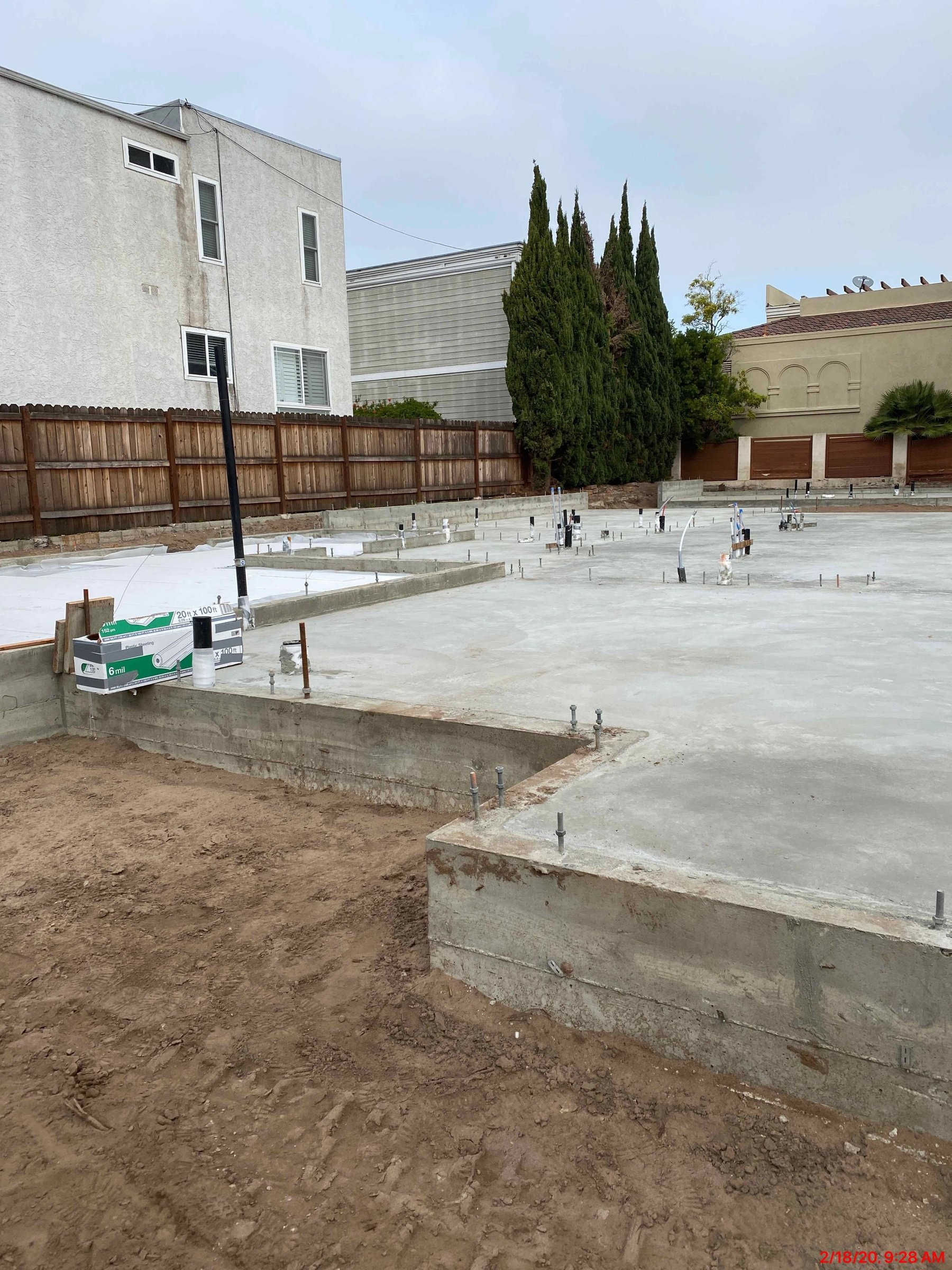 Main house and ADU slab poured
