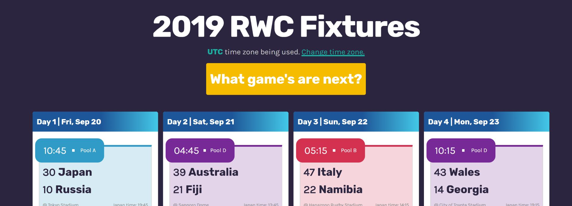 How I would build my 2019 Rugby World Cup fixtures site differently next time.