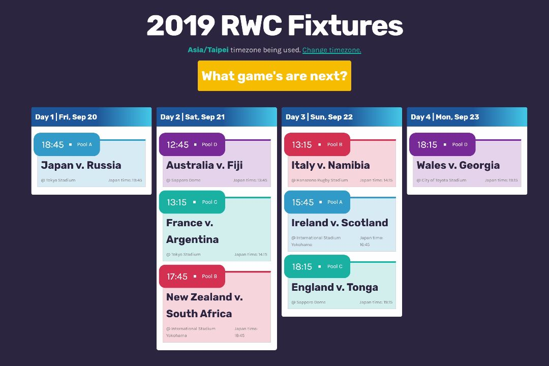 Web development case study project rwc 2019 fixtures kanban.