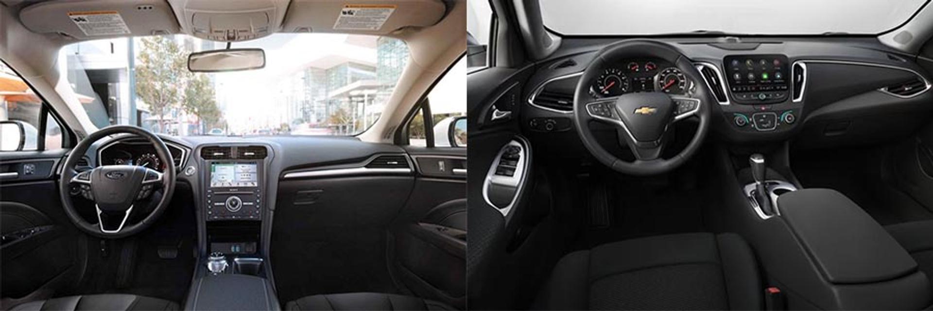 Ford Fusion vs Chevy Malibu interior comparison