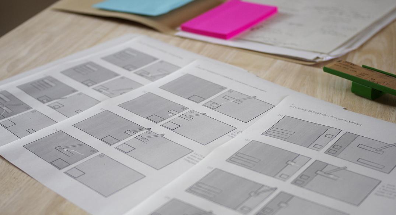 Photo des storyboards pour le design d'interface de ASTER