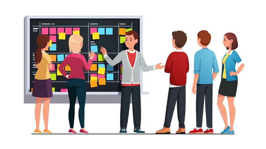 Sprint Planning: A team having a meeting in front of their scrum board