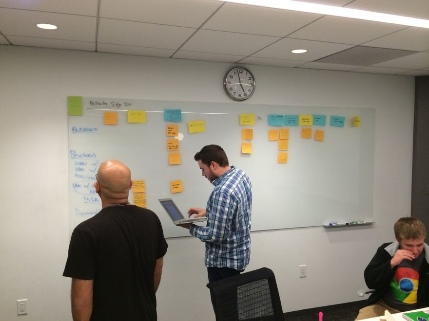 What a traditional user story mapping session can look like