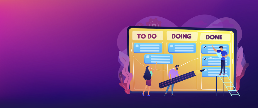 visual task management: illustration of to do, doing and done