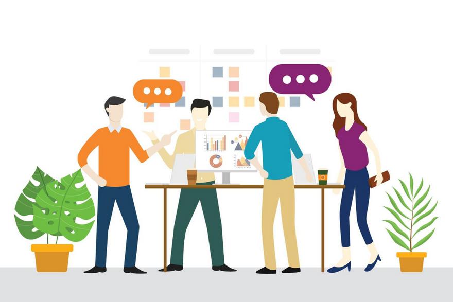 Agile project management: Illustration of teammates working together