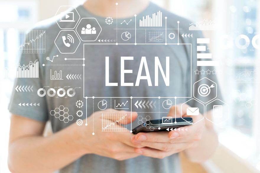 Lean methodology: man using his phone with the word LEAN and various tech graphics