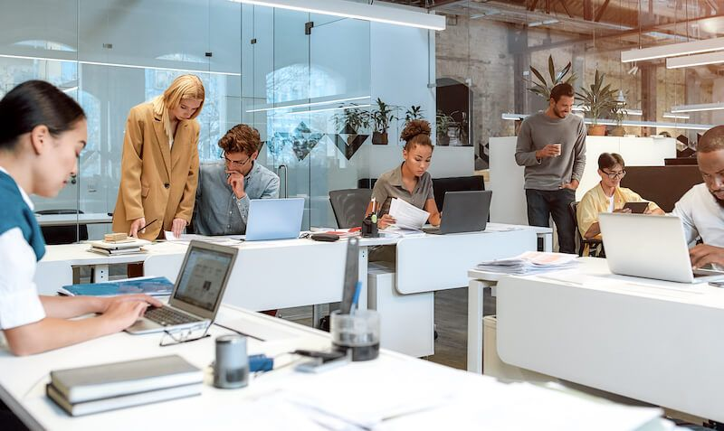 Lean principles: people working in a co-working space
