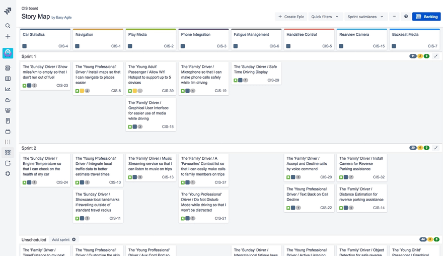 an example story map in Easy Agile User Story Maps for Jira
