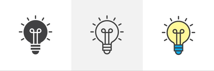 Agile project management: Illustration of light bulb icons