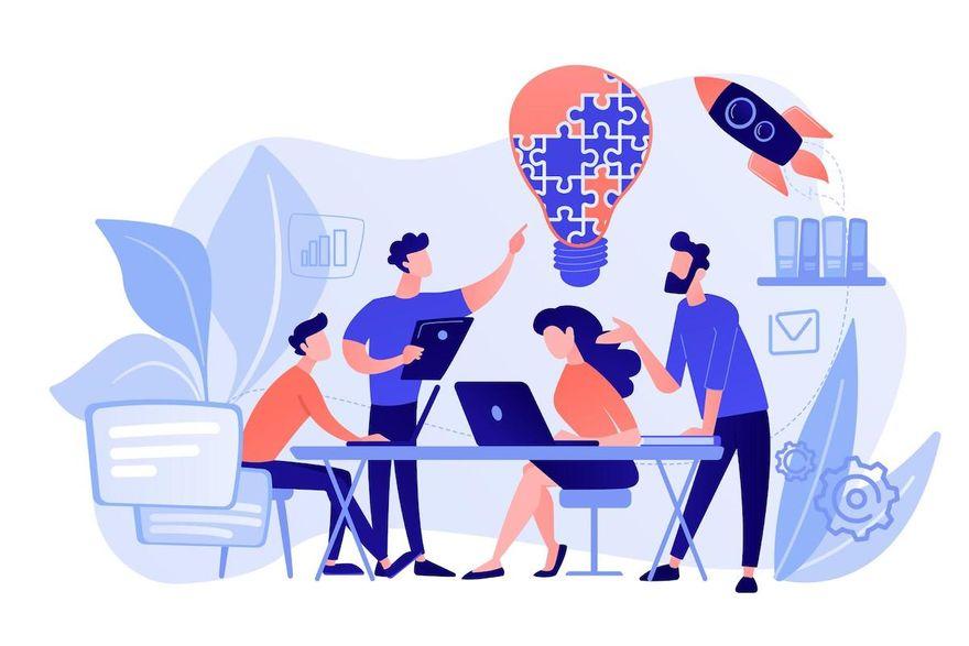 learn agile: Cartoon illustration of a team meeting