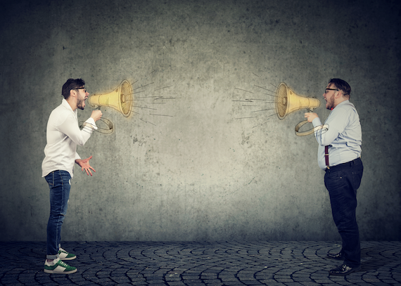 Jira project management: Two men screaming at each other using a megaphone